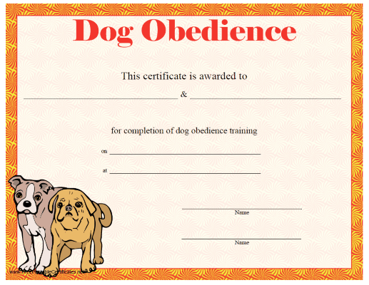 This printable certificate of dog training or achievement for Dog show certificate template