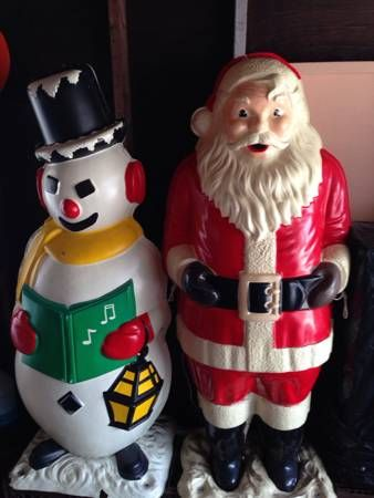 Polk Brother S Santa And Snowman Not Actual Blow Molds The Snowman Is Rare Santa Is Easier To F Vintage Christmas Christmas Crafts Decorations Old Christmas