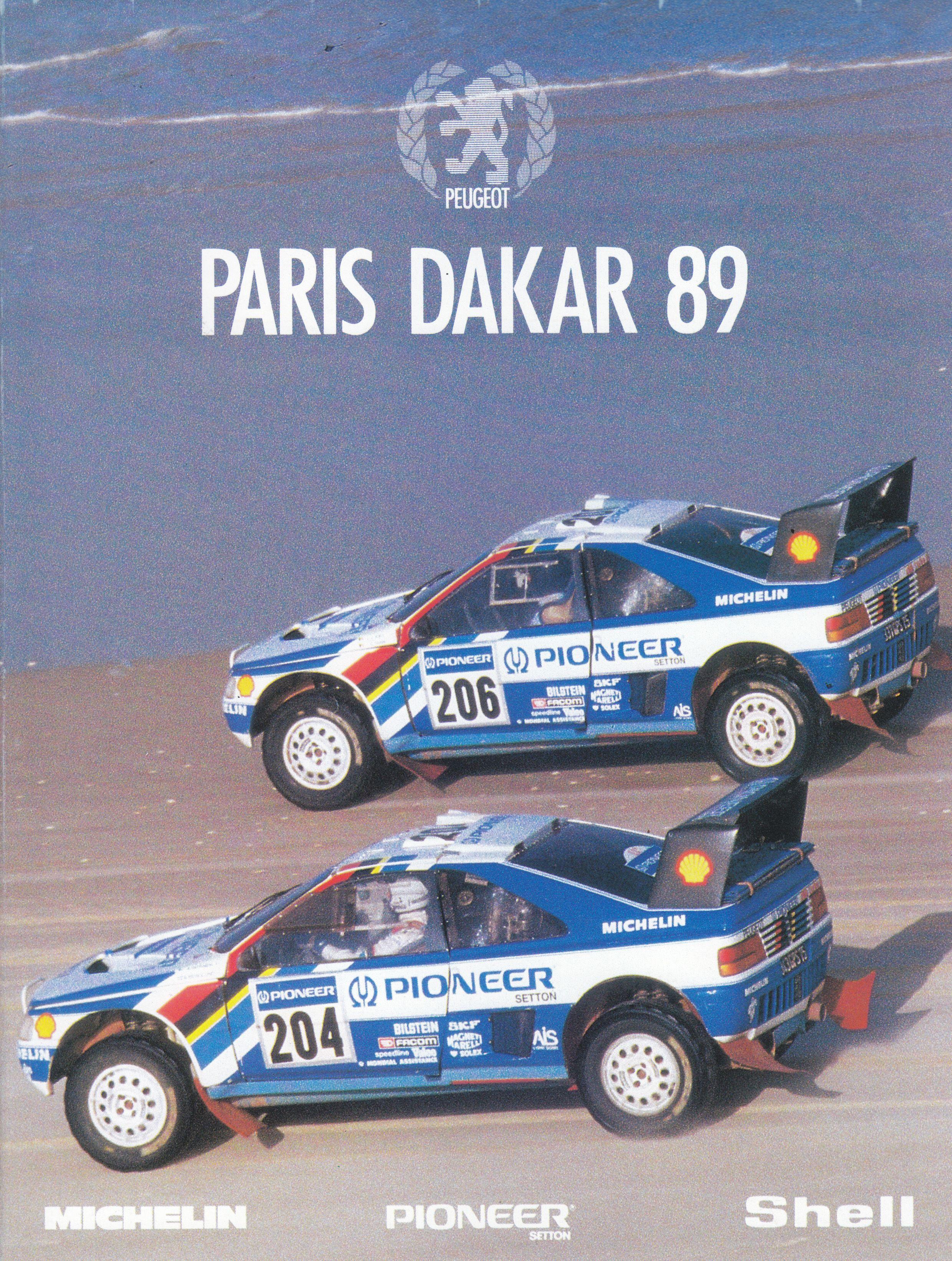 Peugeot rallye car ParisDakar 1989 foldout poster