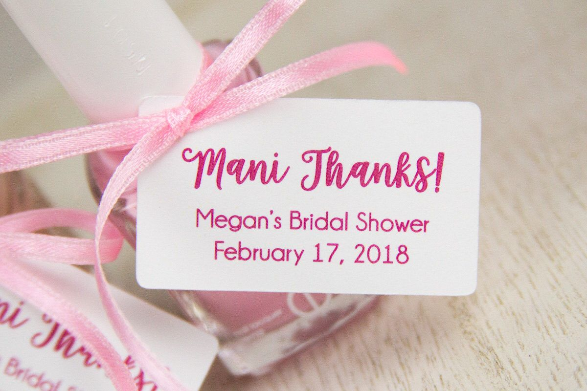 Mani Thanks Tags - Bridal Shower Thank You Gifts - Baby Shower ...