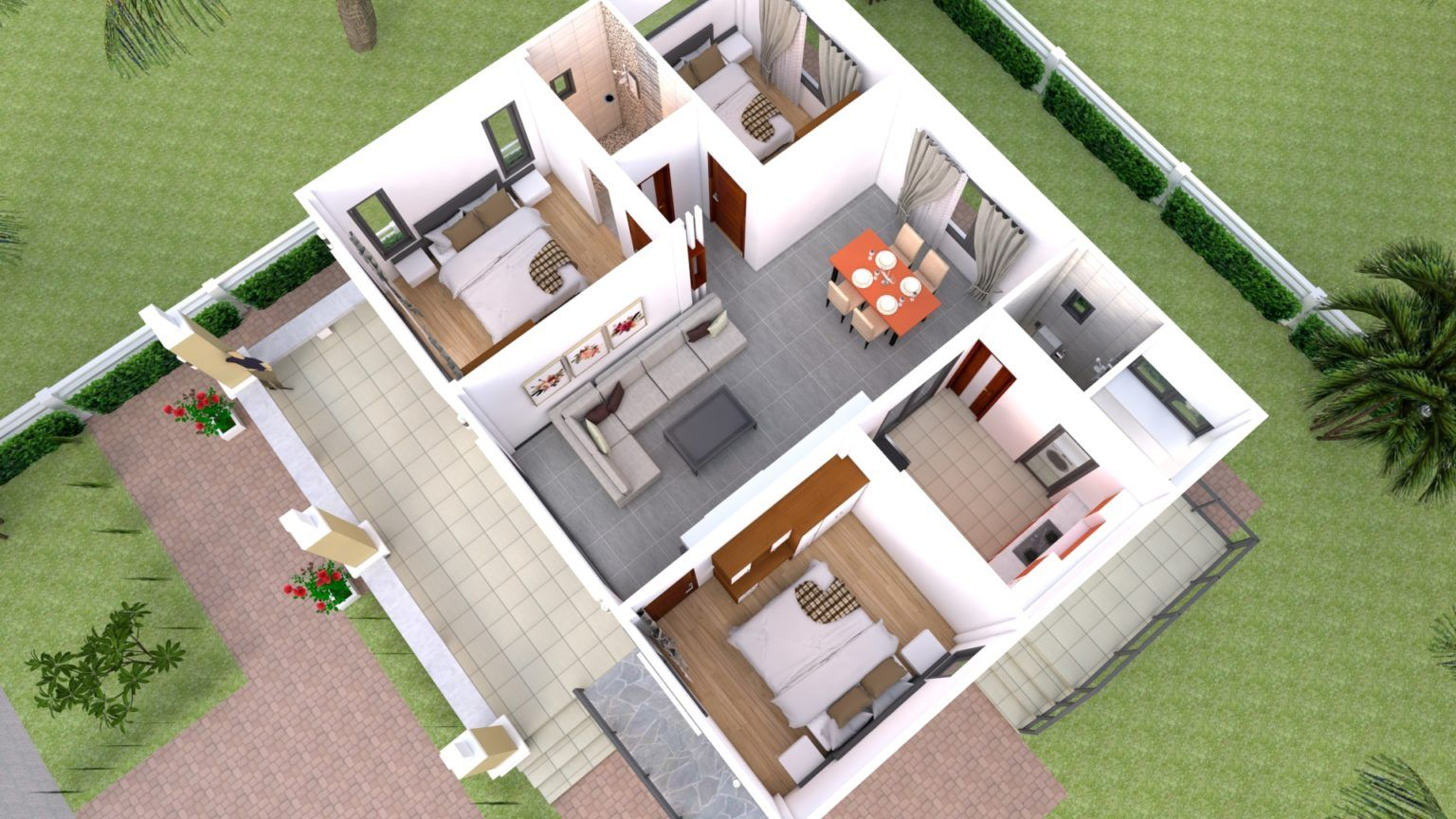 House Design 10x10 With 3 Bedrooms Hip Roof House Plans 3d House Plans Sims House Plans Two Bedroom House Design