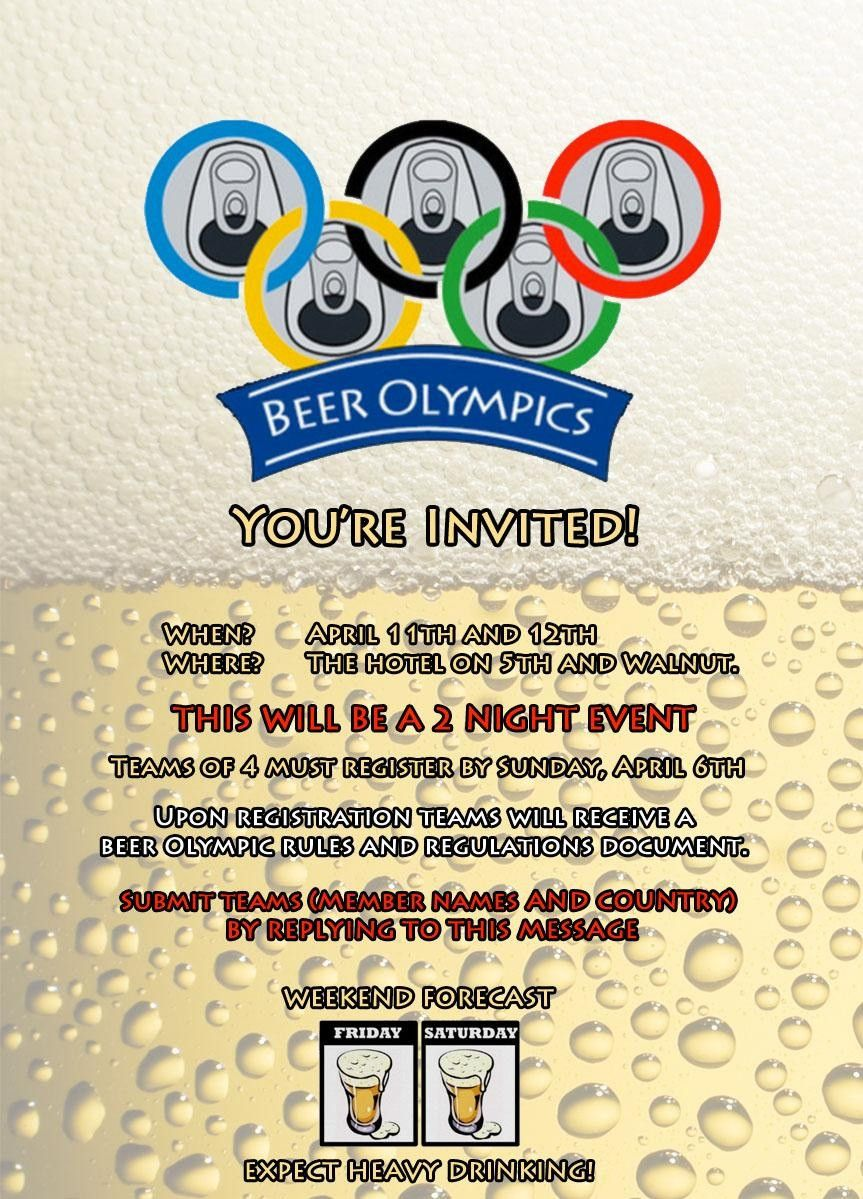 Beer Olympics Invitation We Made An Invitation For Our Houses - Olympic party invitation template