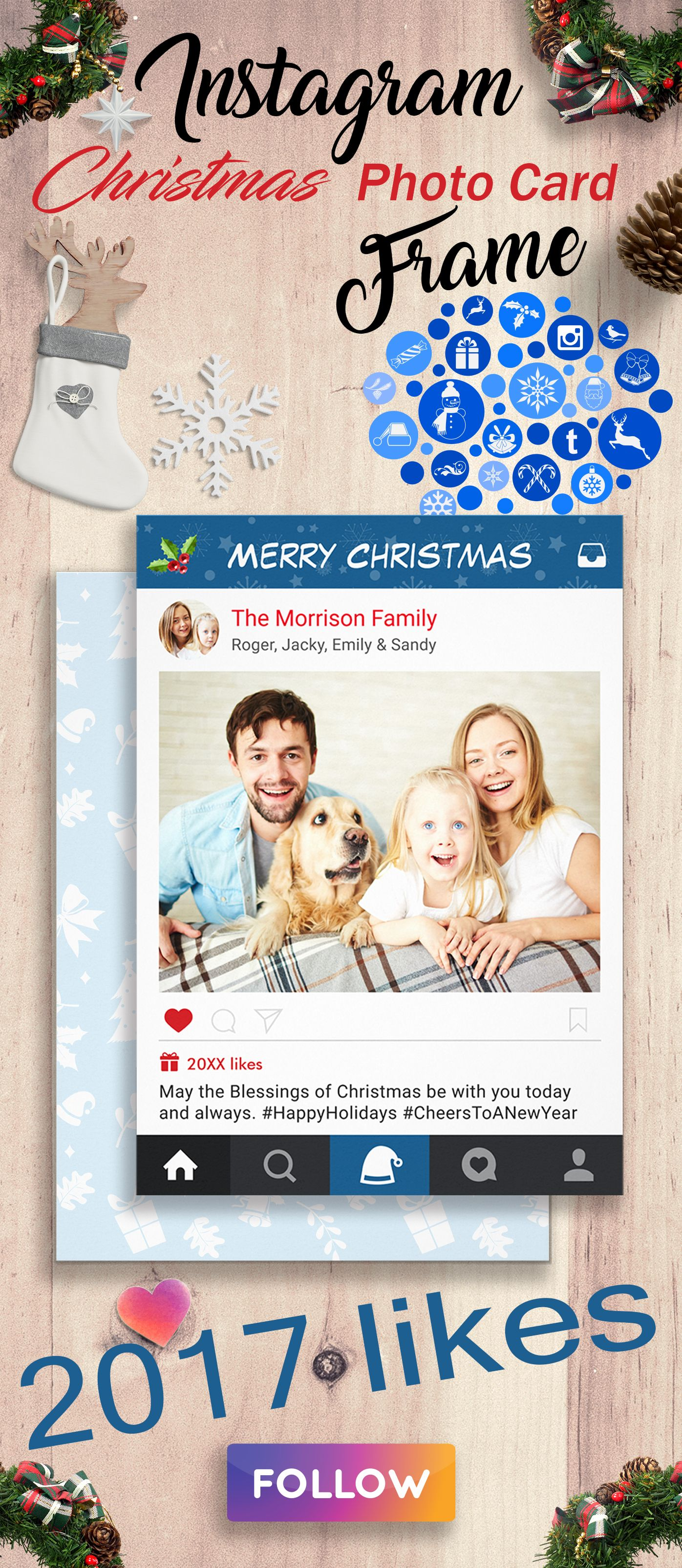 Christmas Instagram Frame Holiday Greetings Photo   Instagram frame ...