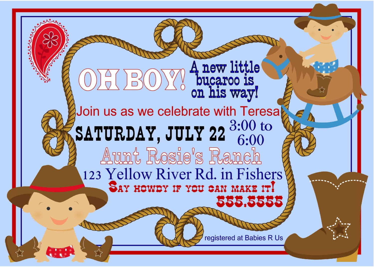 94821d9b9e4474b9d50205697d7f95f0 digital lil bucaroo cowboy baby shower by spencervillejunction, $,Baby Shower Invitations Cowboy Theme