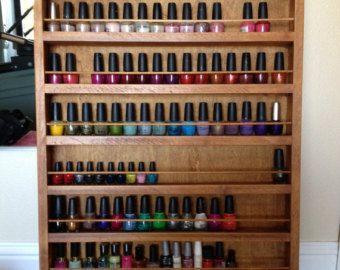 wood nail polish wall rack - Google Search   Nail Polish ...