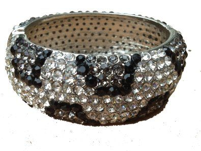 """Amazon.com: HOT! SILVER color/CLEAR/BLACK 1 1/4"""" wide Leopard Pave Swarovski Crystal & Rhinestone BLING Hinged Metal Bangle Bracelet by Jersey Bling handmade: Jewelry"""