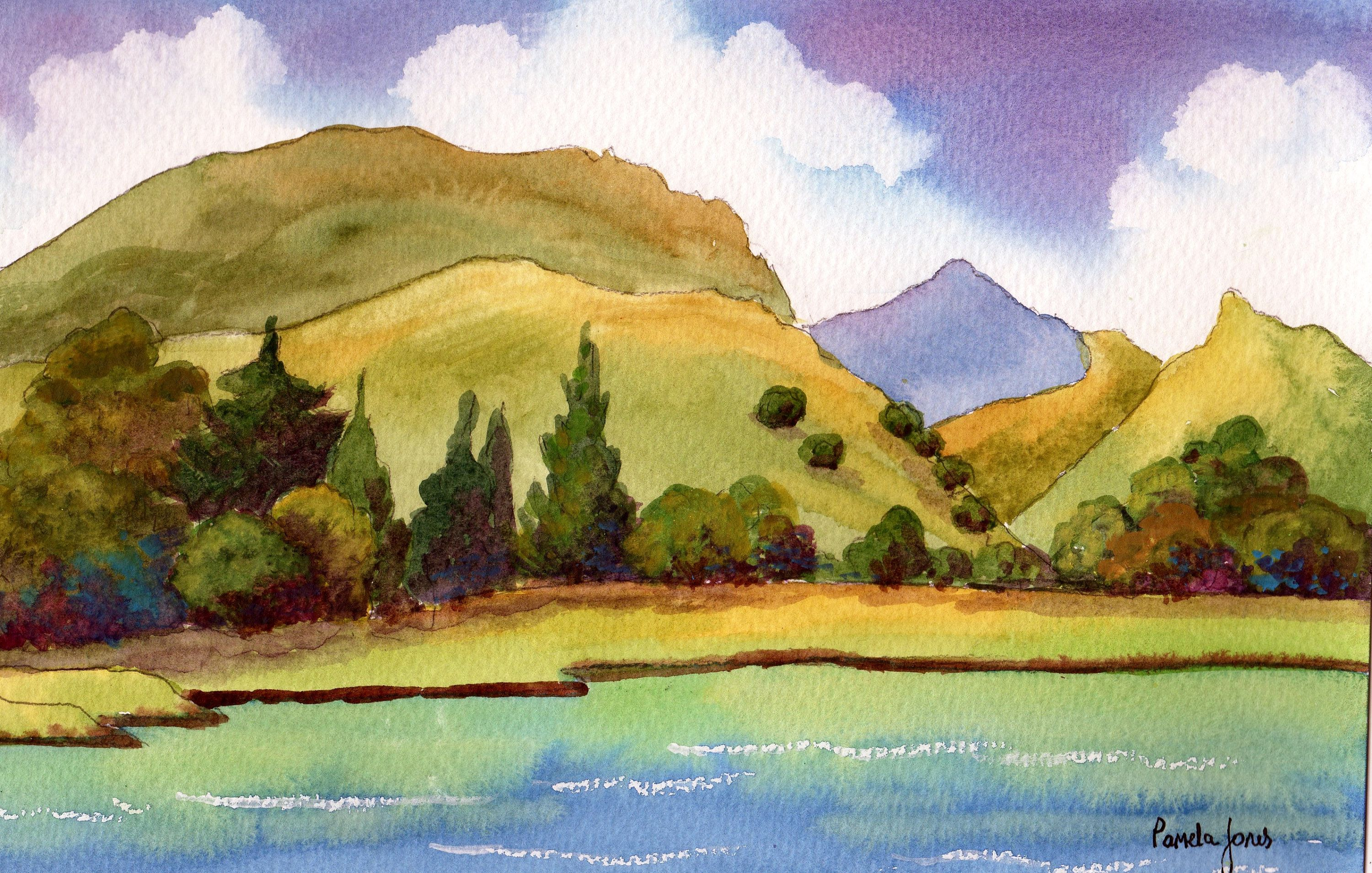 Original Watercolour, Painting, Nantlle Lake, Snowdonia, North Wales, 14 x 11 ins, Gift Idea, Art and Collectibles, Home and Living #northwales