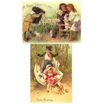 Par de grandes niños victorianos y conejo de Pascua Tarjetas Postales