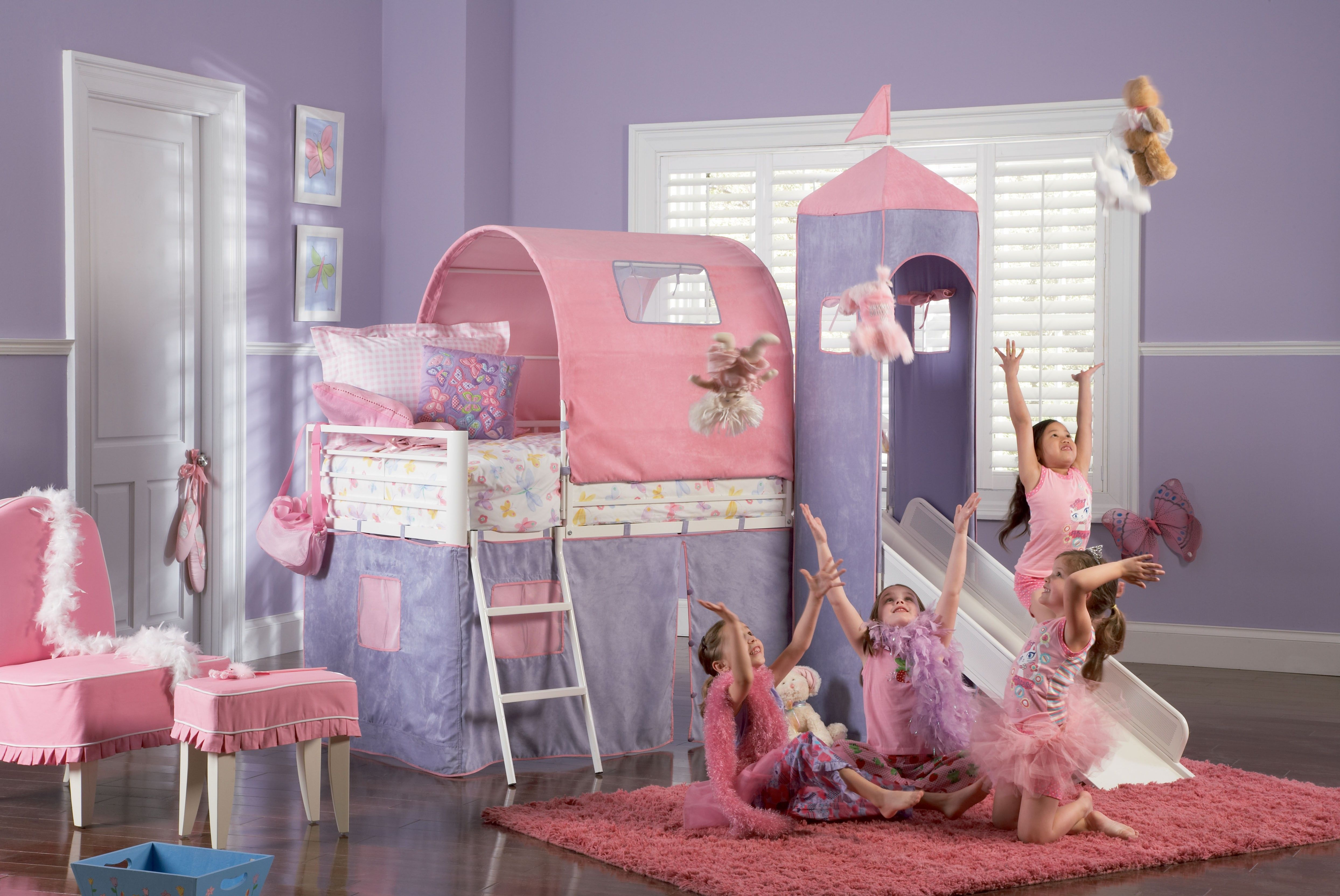 Powell Princess White Castle Twin Size Bunk Bed With Slide