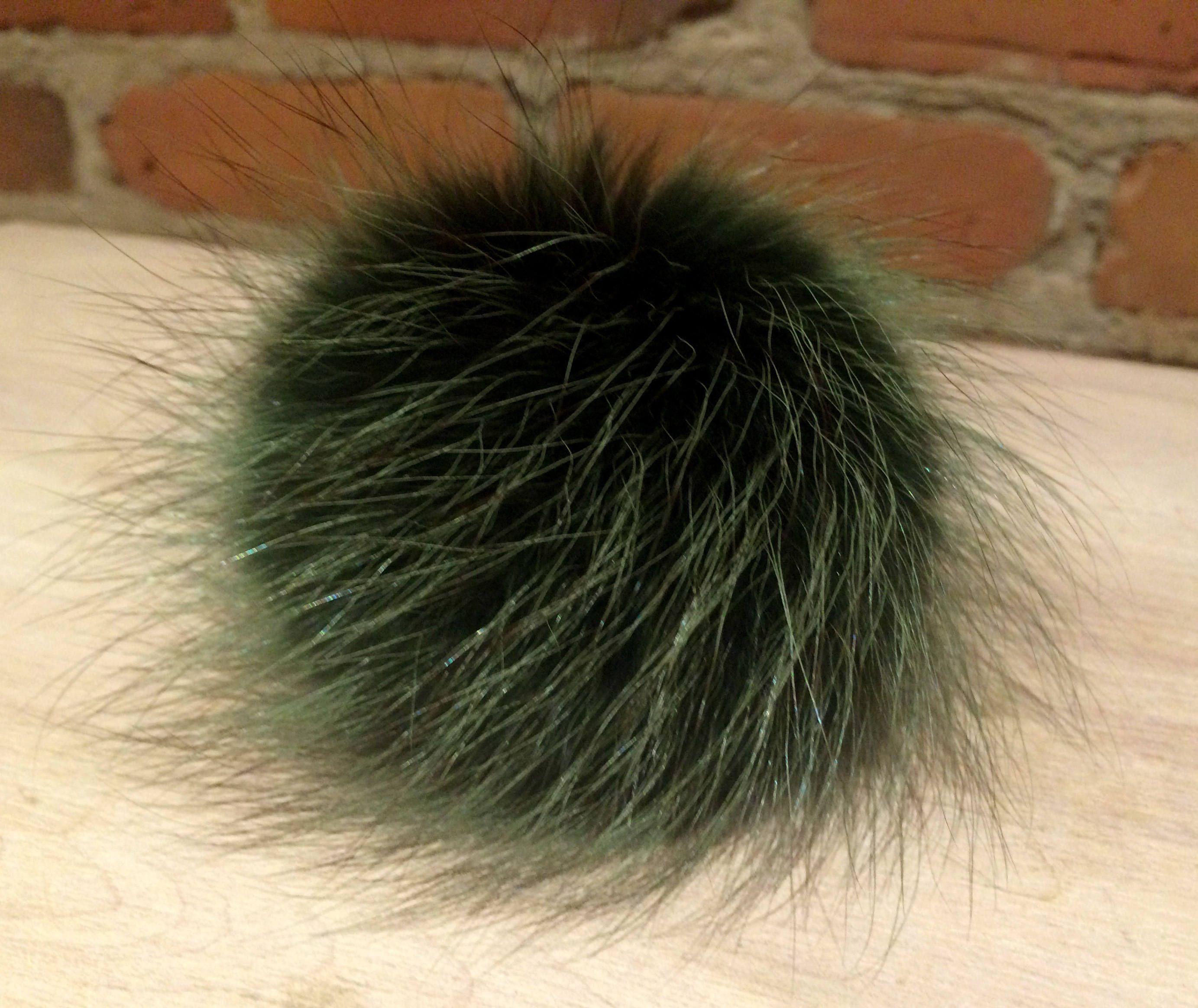 2cdc29511 Hat Pom, Green Pom Pom, 3.5 Inch, Raccoon Fur, Emerald Green ...