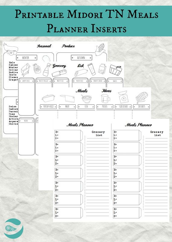 MEAL PLANNER INSERTS - Midori Traveler's Notebook - Pdf Instant