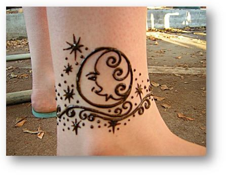 Star And Moon Ankle Henna Design Henna Ankle Henna Designs