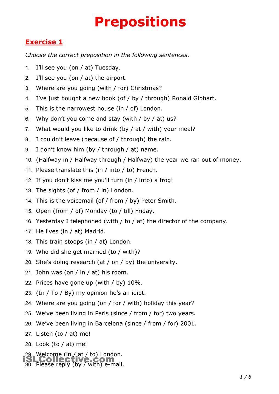 Prepositions Preposition worksheets, English grammar