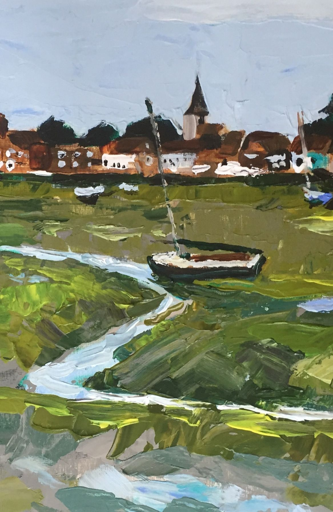 """Detail - Tide out at Bosham Harbour, 11x20"""" Acrylic on paper by Neil Giles #Bosham"""
