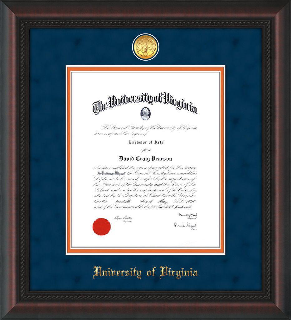 U of Virginia Diploma Frame - Mahog Braid - w/medallion - navy ...