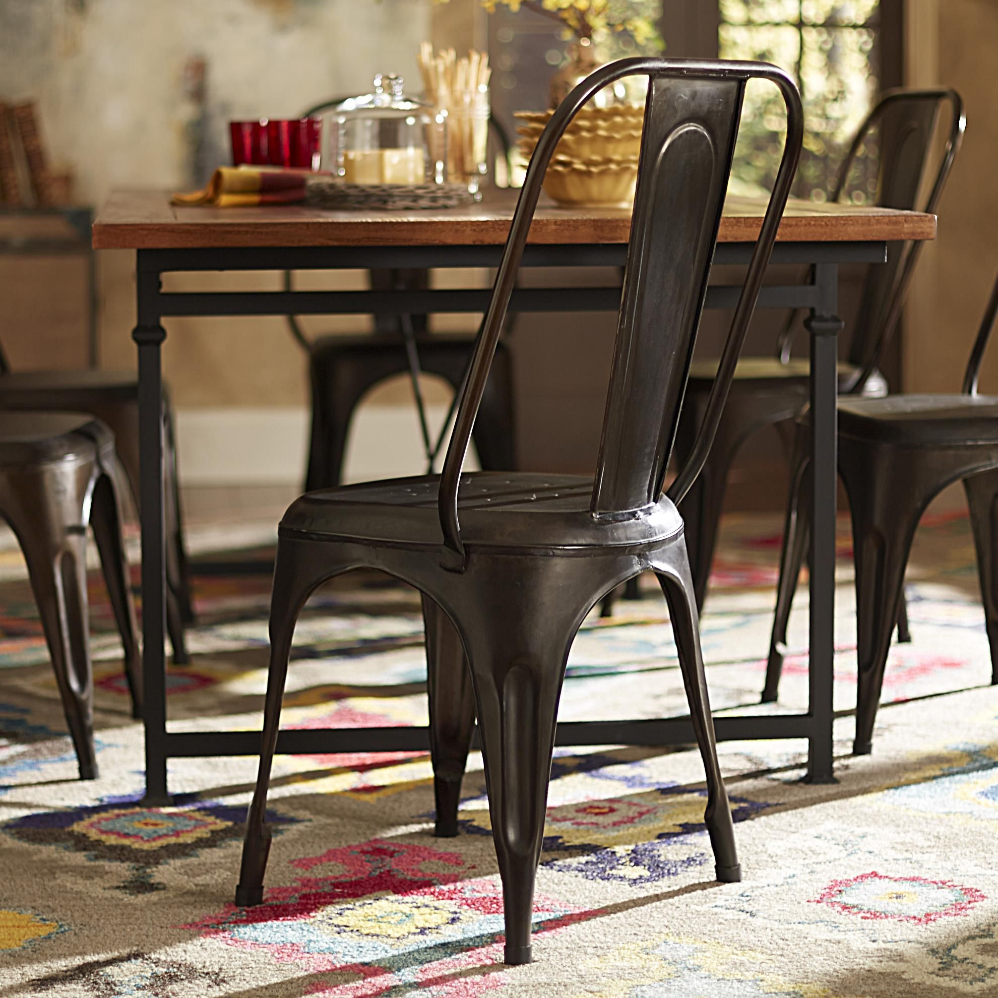 Add a pop of color to your modern dining room with these metal side chairs. Mix match these chairs to create a fun place in your home that shows off your on trend style. Use not only in your dining room but as an accent piece anywhere in your home.