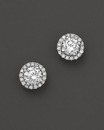 Micro Pave Diamond Stud Earrings In 14k White Gold 30 Ct T W
