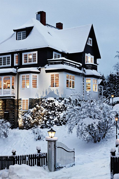 Image result for snow covered house beautiful