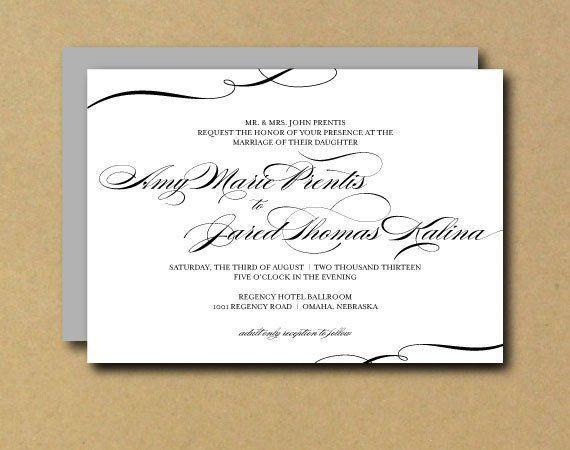 Custom Printable Wedding Invitation Swirl Calligraphy