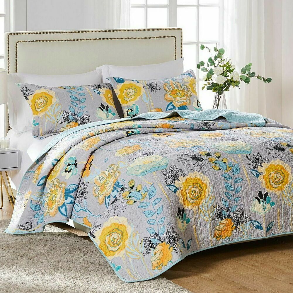 Details About Quilt Bedspread Coverlet Set 100 Cotton Gray Blue Yellow Floral Bedding King Quilt Sets Modern Grey Bedroom Floral Bedding