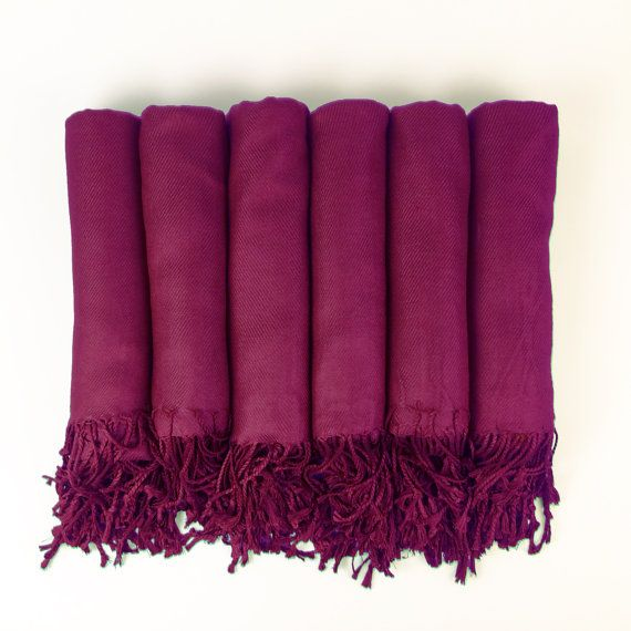 Pashmina Shawl In Berry Pink- Bridesmaid Gift, Wedding