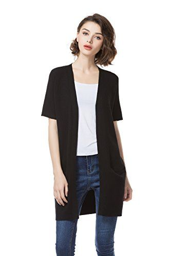 KNITBEST Women's Ladies Short Sleeve Knitwear Long Cardigans with ...