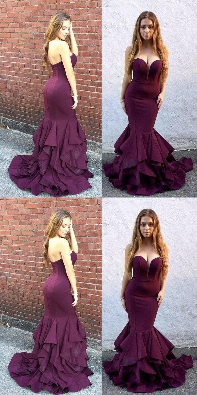 Mermaid sweetheart grape evening prom dress with ruffles prom
