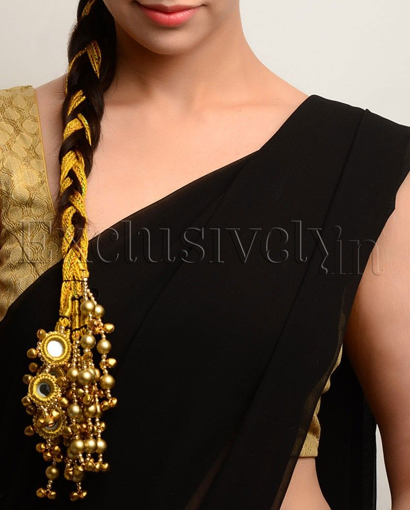 gold paranda with mirror work & baubles - exclusively in