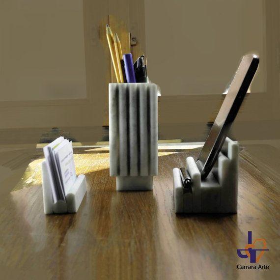 Modern office set bernini card of veritable white carrara set office bernini practical and stylish business card holder and pencil holder in colourmoves