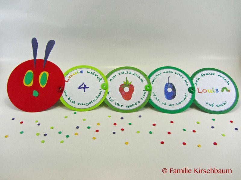 kleine raupe einladung kindergeburtstag von familie-kirschbaum auf, Einladung