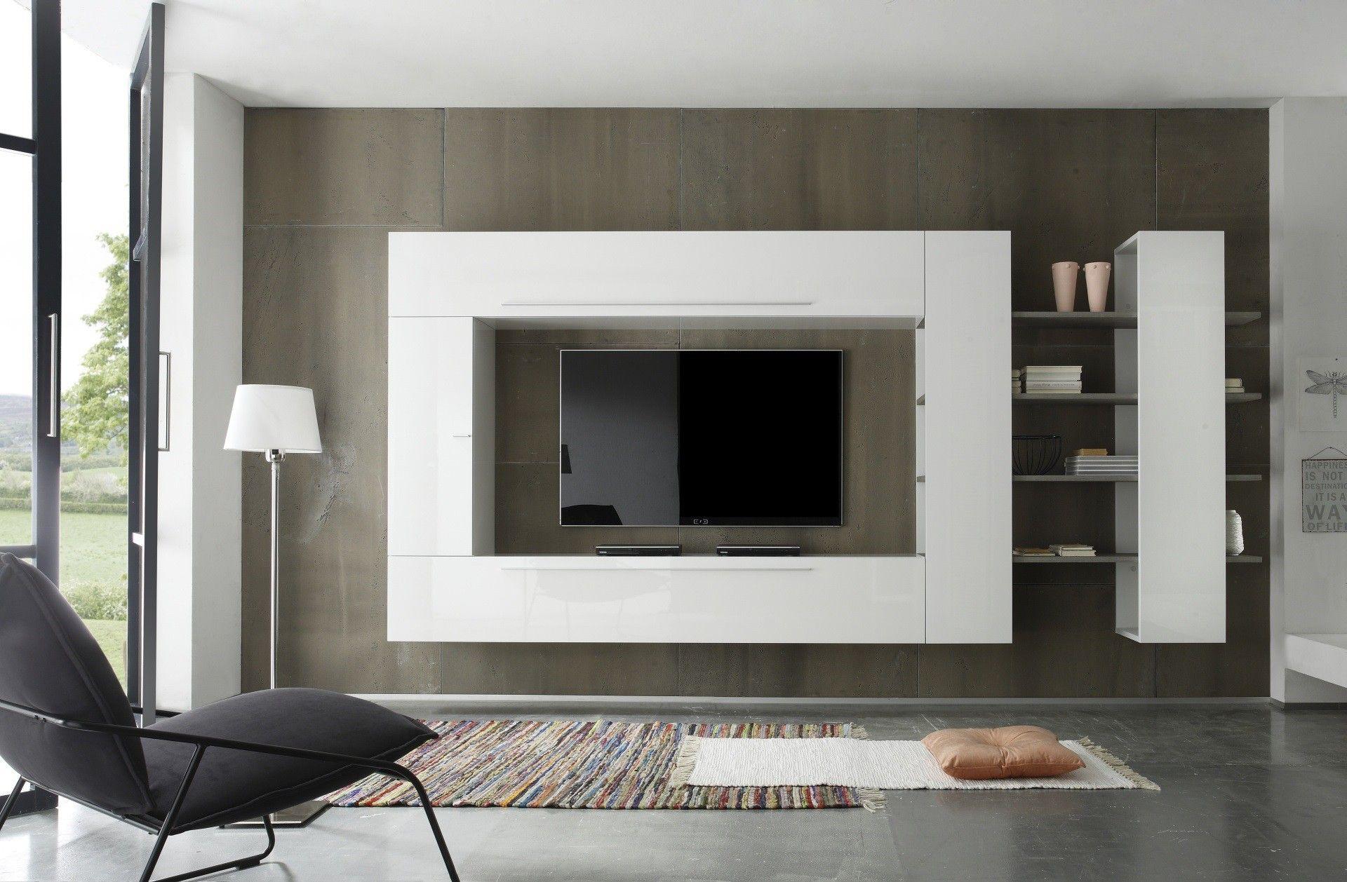 Composition Tv Murale Design Blanc Laque Gris Riviera Interior