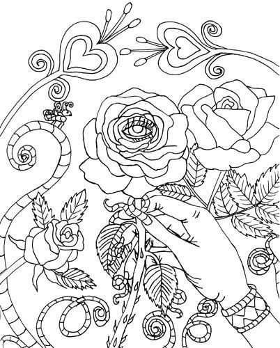 Evil Eye Rose coloring page digital coloring book page printable ...