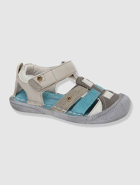 Sandalias niño de piel azul oscuro liso 0bmJnkq