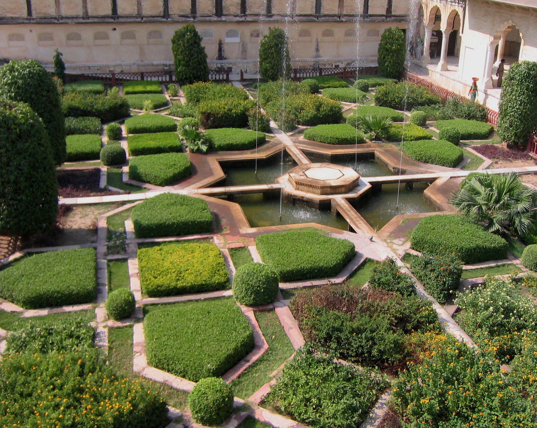 Amber palace gardens india jardines laberintos y for Jardin islamico