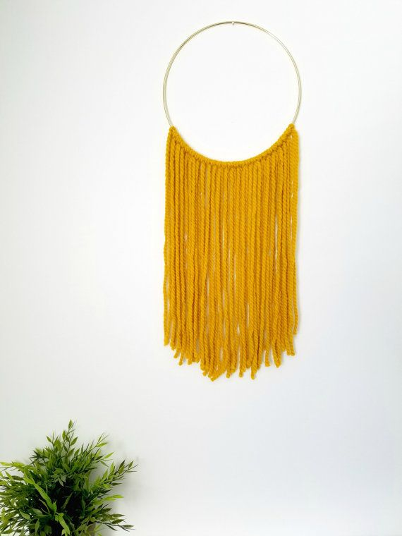 Mustard Yarn Wall Hanging Decor on Gold Ring / Wall Decor / Home ...