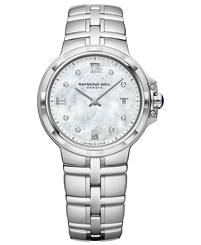 Raymond Weil Women's Swiss Parsifal Diamond-Accent Stainless Steel Bracelet Watch 30mm & Reviews - All Fine Jewelry - Jewelry & Watches - Macy's