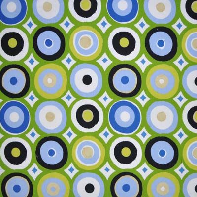 Oasis Green Retro Circles In Kids Fabric For Curtains Bedding And Curtain