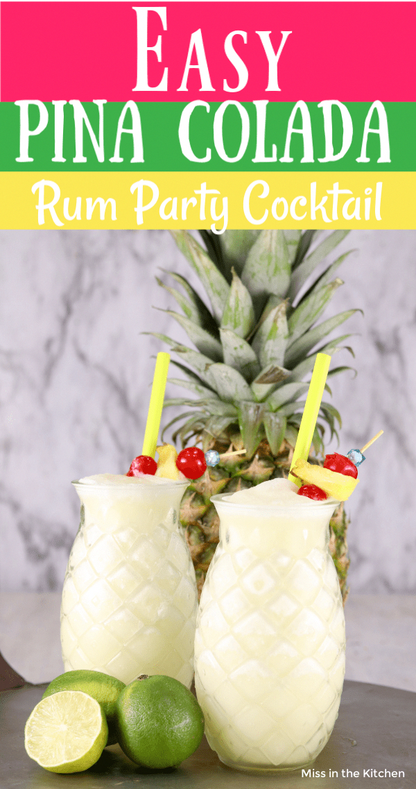 Easy Piña Coladas are a classic party cocktail for any occasion. An refreshing combination of pineapple, coconut and lime with light rum. Amazing tropical rum cocktail that is always the hit of the party! #partycocktailrecipes