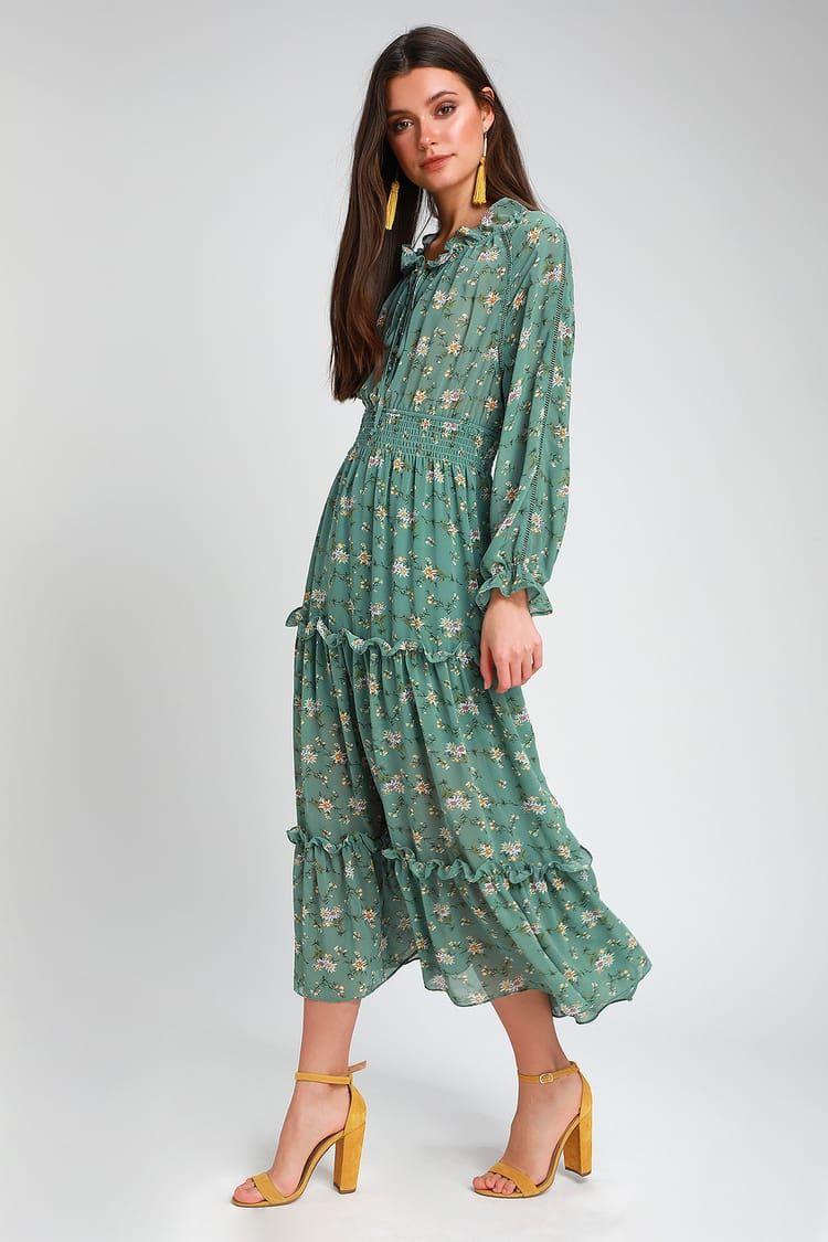 Delphine Sage Green Floral Print Long Sleeve Midi Dress Long Sleeve Midi Dress Dresses Long Sleeve [ 1125 x 750 Pixel ]