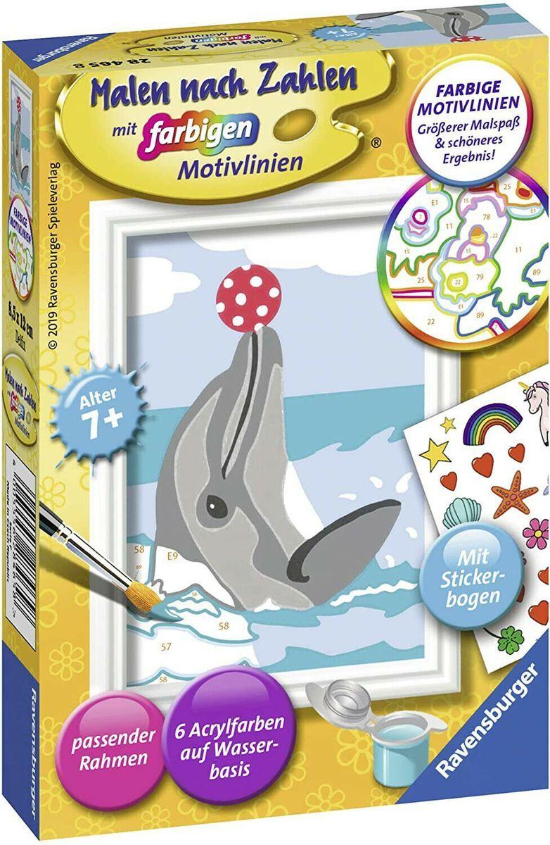 Ravensburger 28465 Malen Nach Zahlen Delfin 6 Acrylfarben Rahmen Ab 7 Jahren In 2020 Malen Nach Zahlen Acrylfarbe Acryl