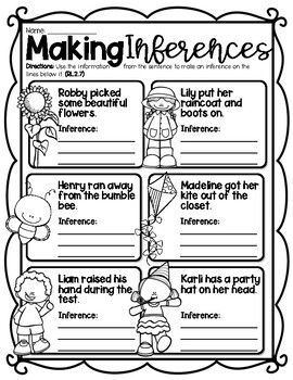 Making Inferences Worksheet by Kendra's Kreations in 2nd