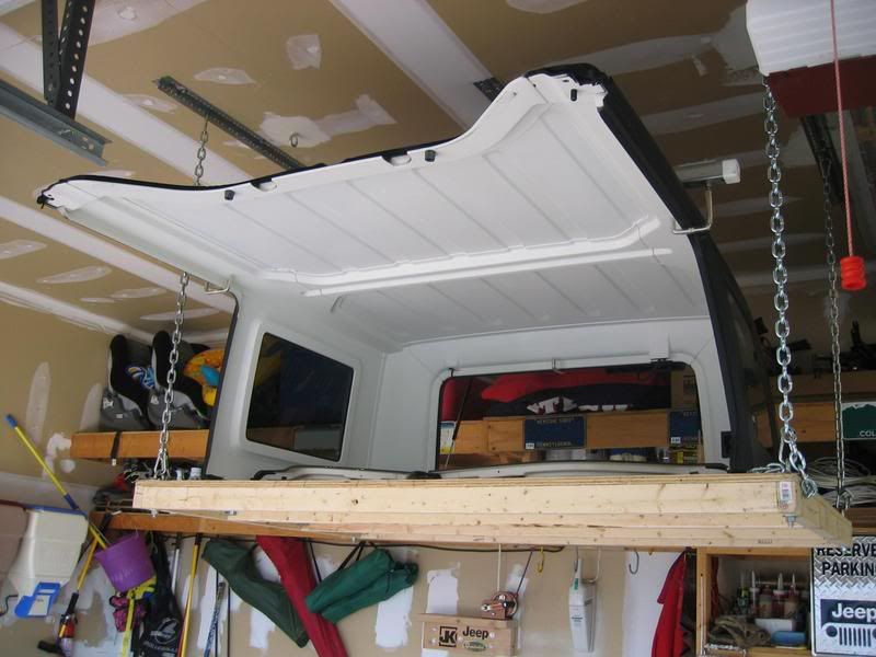 Clever Pulley Storage System For Hard Top Maybe Modify To Make