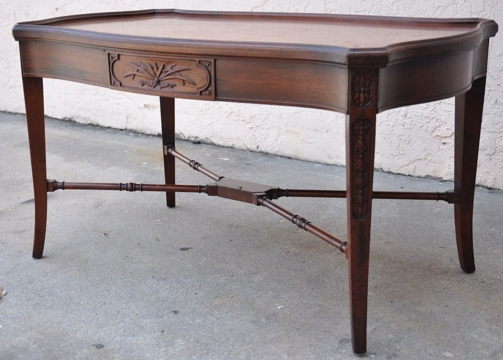 Antique Imperial Grand Rapids Furniture 1940's Mahogany Coffee Table w/  Drawer - Antique Imperial Grand Rapids Furniture 1940's Mahogany Coffee