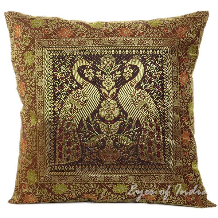 "Brocade Home Decor Decoration 16"" brown brocade throw pillow toss cushion ethnic indian"