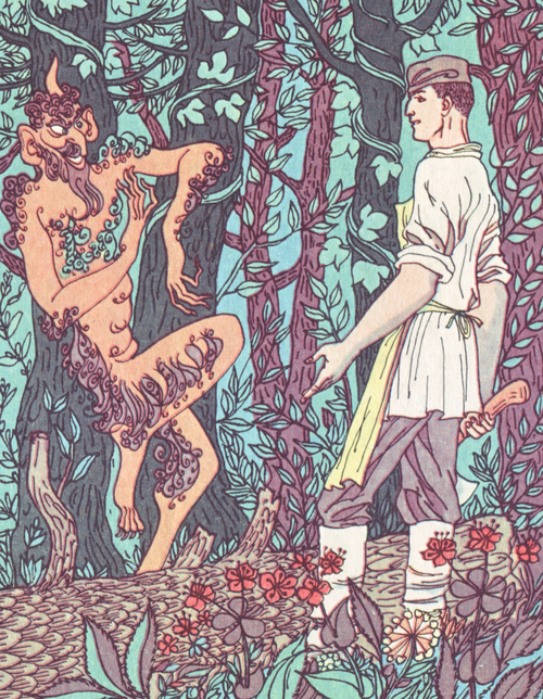 Shurale (Şüräle) is a male forest demon found in Bashkir and Tatar mythology. He lives in forests, has long fingers, a horn on its forehead, and a woolly body. He silently waits behind the trees for his victims, and when a human is unlucky enough to have lost their way in the middle of the black forest, he catches them and tickles them to death.