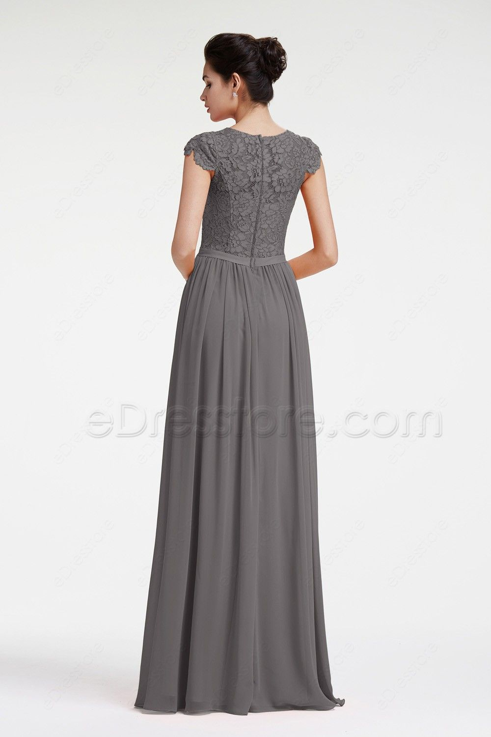 7ec09fdd805 The charcoal grey bridesmaid dress is made of chiffon and lace fabric