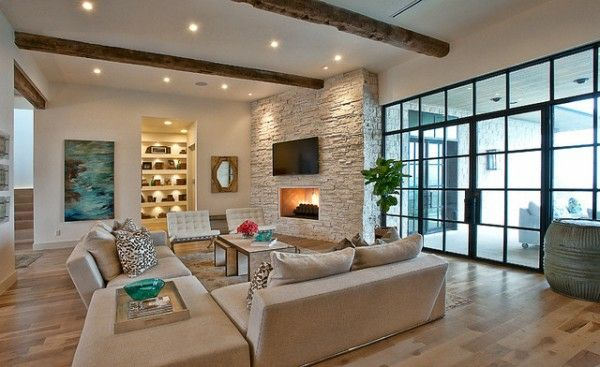 Modernes Wohnzimmer Landhausstil Rustikal Beige Sofa Set Decken Leuchten Steinwand