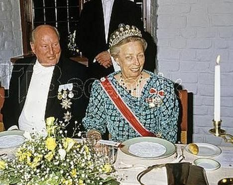 """Late Princess Ragnhild of Norway in Queen Mauds Grand Diamond tiara to celebrate her brother Crown Prince Harald 21. Febr 1987. On her right hand side; Uncle """"Mulle"""", Carl Bernadotte, Crown Princess Märtha's brother."""