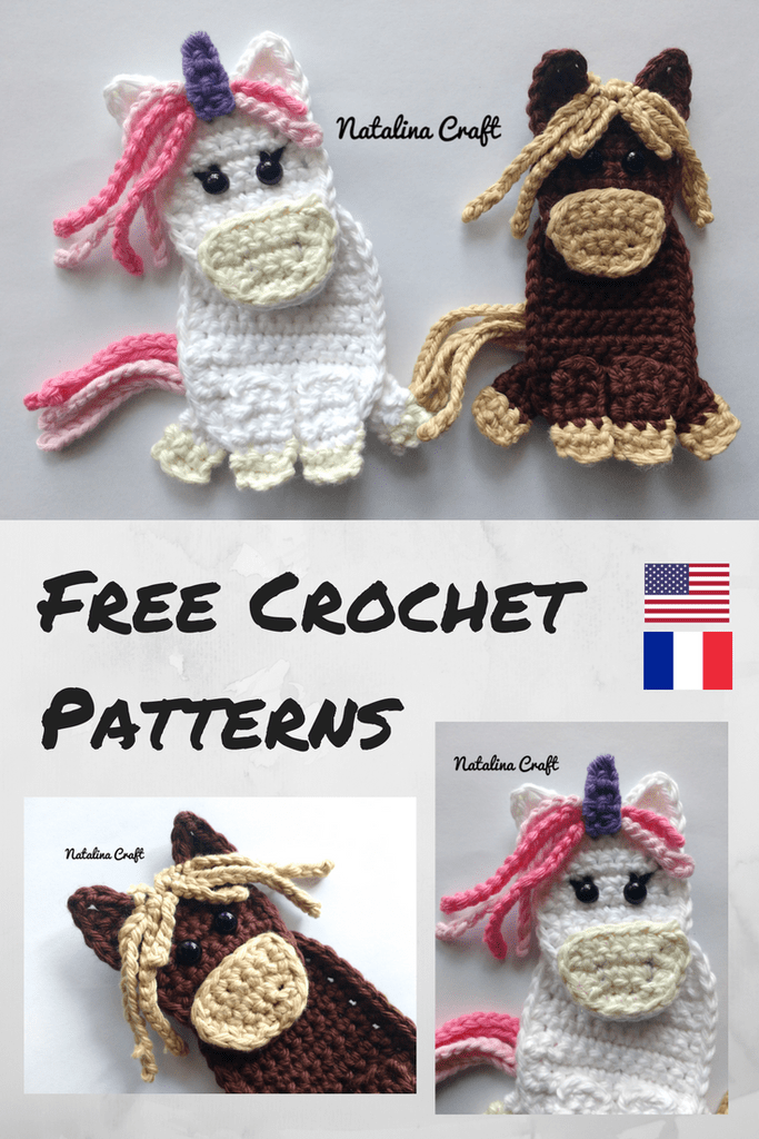 Free Crochet Pattern: Appliques Horse and Unicorn / Patron gratuit ...