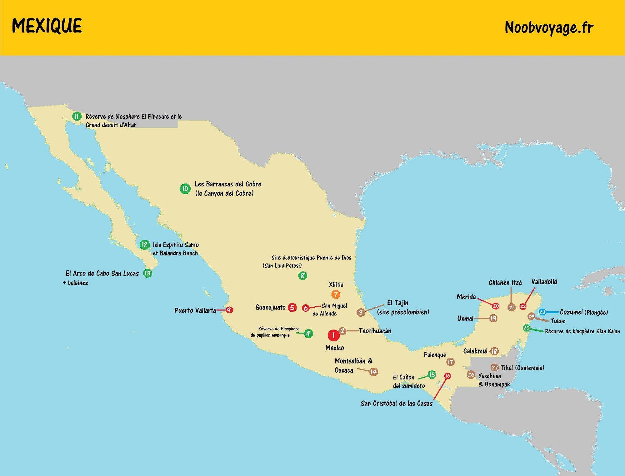 Carte Mexique Touristique.Carte Du Mexique Detaillee A Imprimer Touristique Yucatan